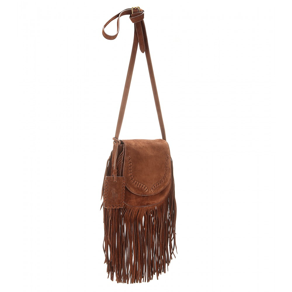 95786f33bb Lyst - Polo Ralph Lauren Fringed Suede Shoulder Bag in Brown