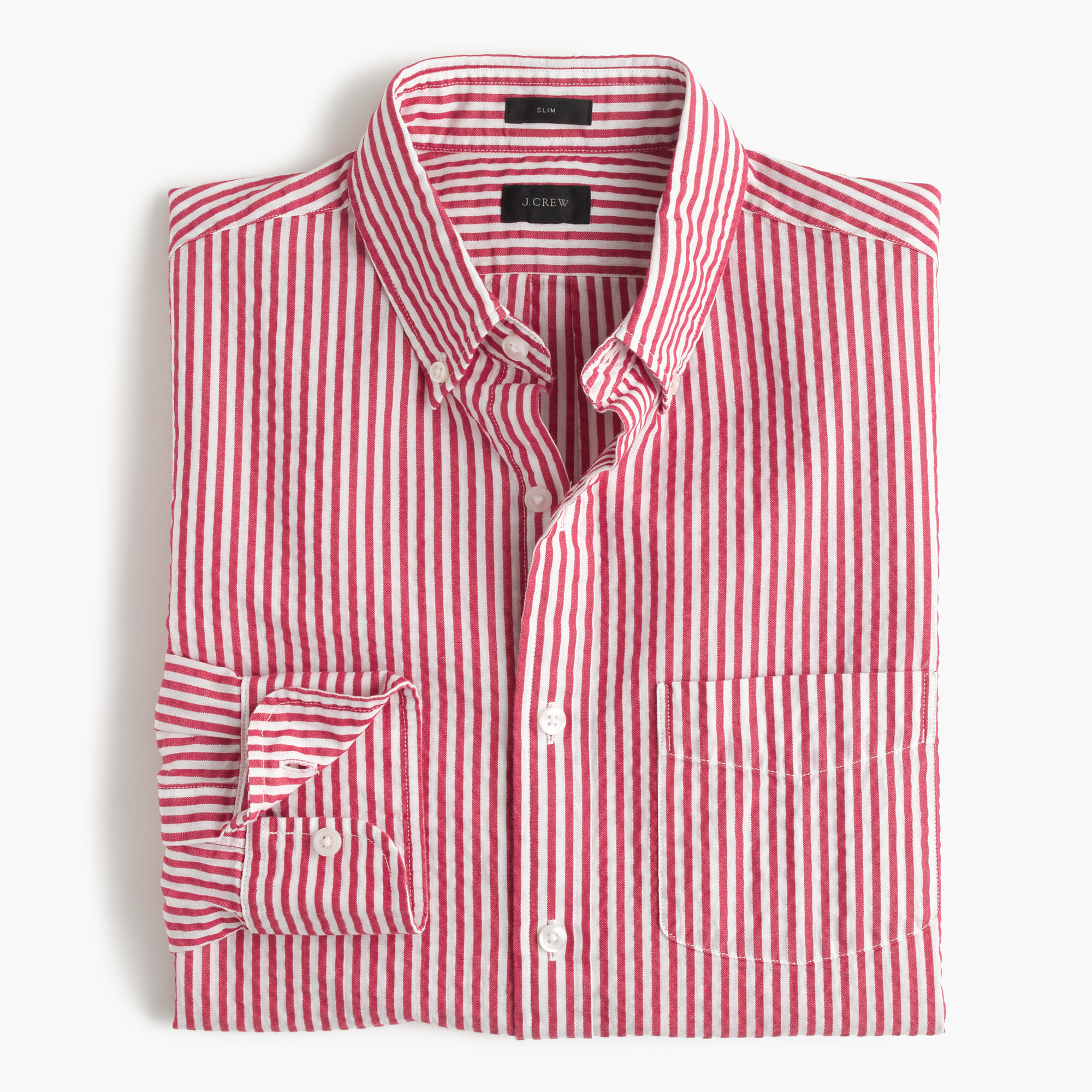 Lyst - J.Crew Slim Seersucker Shirt In Red Stripe in Pink for Men 8df2f9d7bb0e