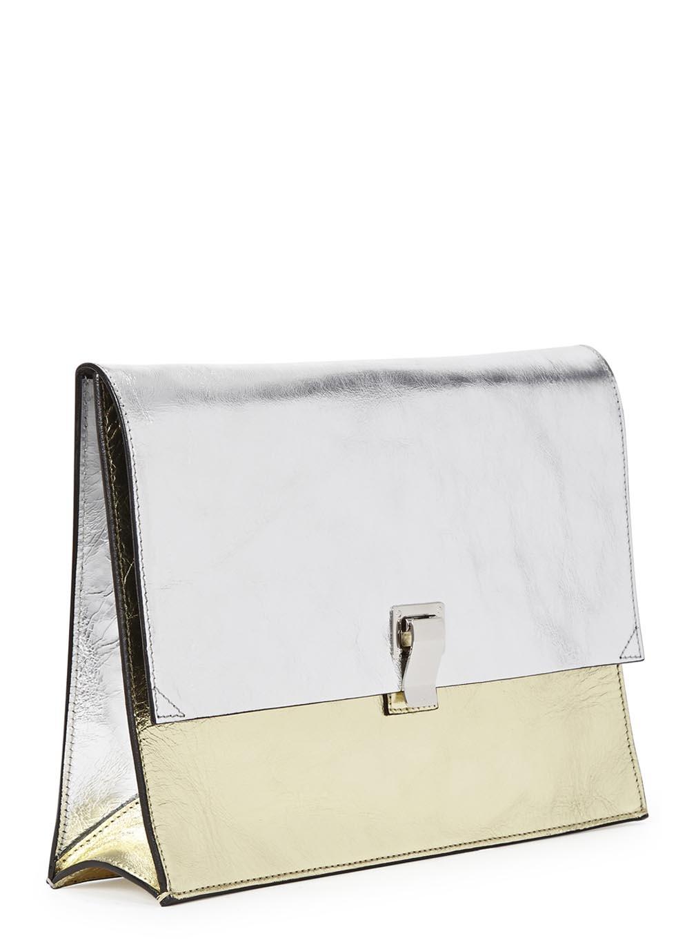 Proenza schouler lunch bag silver and gold leather clutch jpg 980x1372  Silver and gold leather handbags 1bbaec53da0e1
