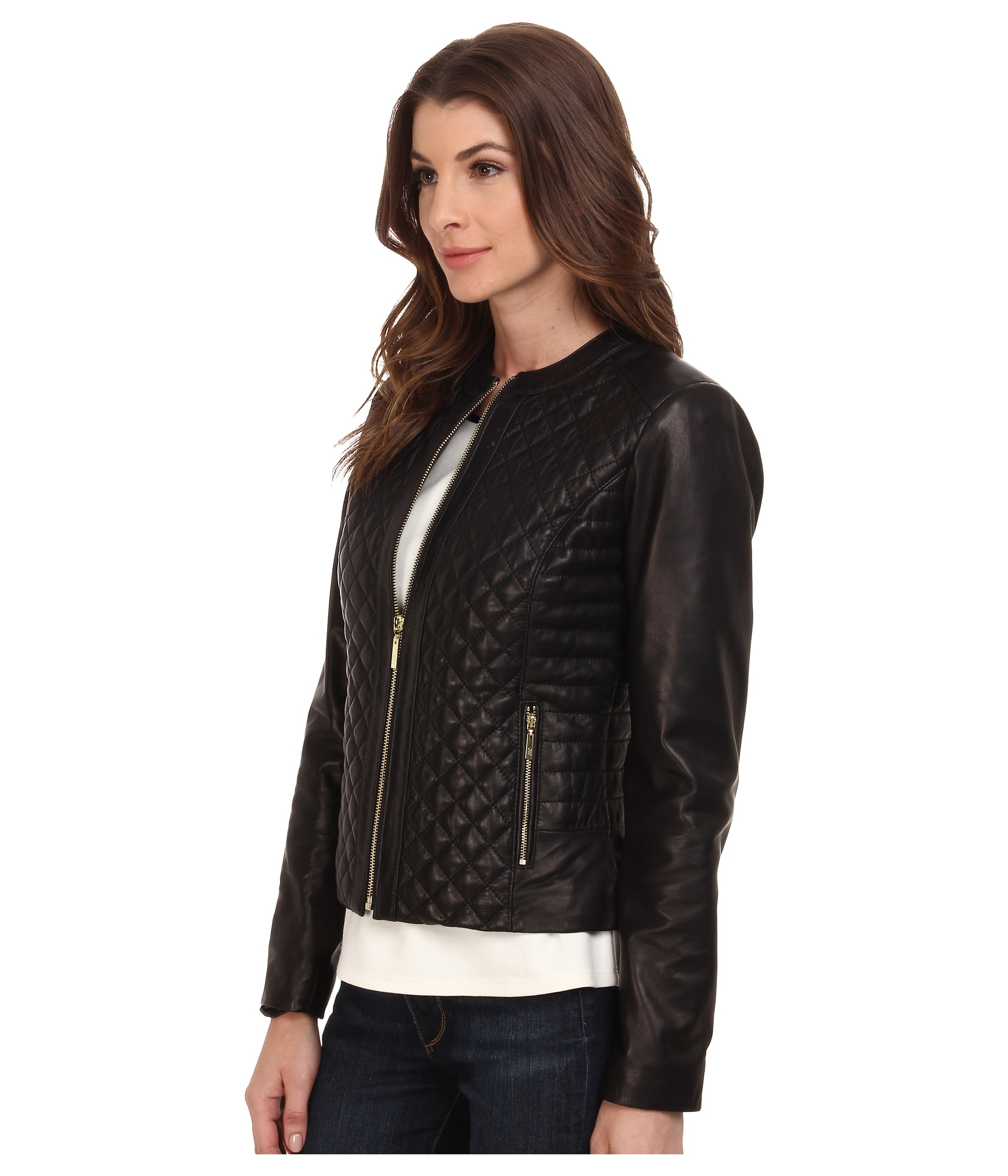 Lyst - Cole haan Collarless Moto Diamond Quilted Leather Jacket in ... : cole haan leather jacket diamond quilted - Adamdwight.com