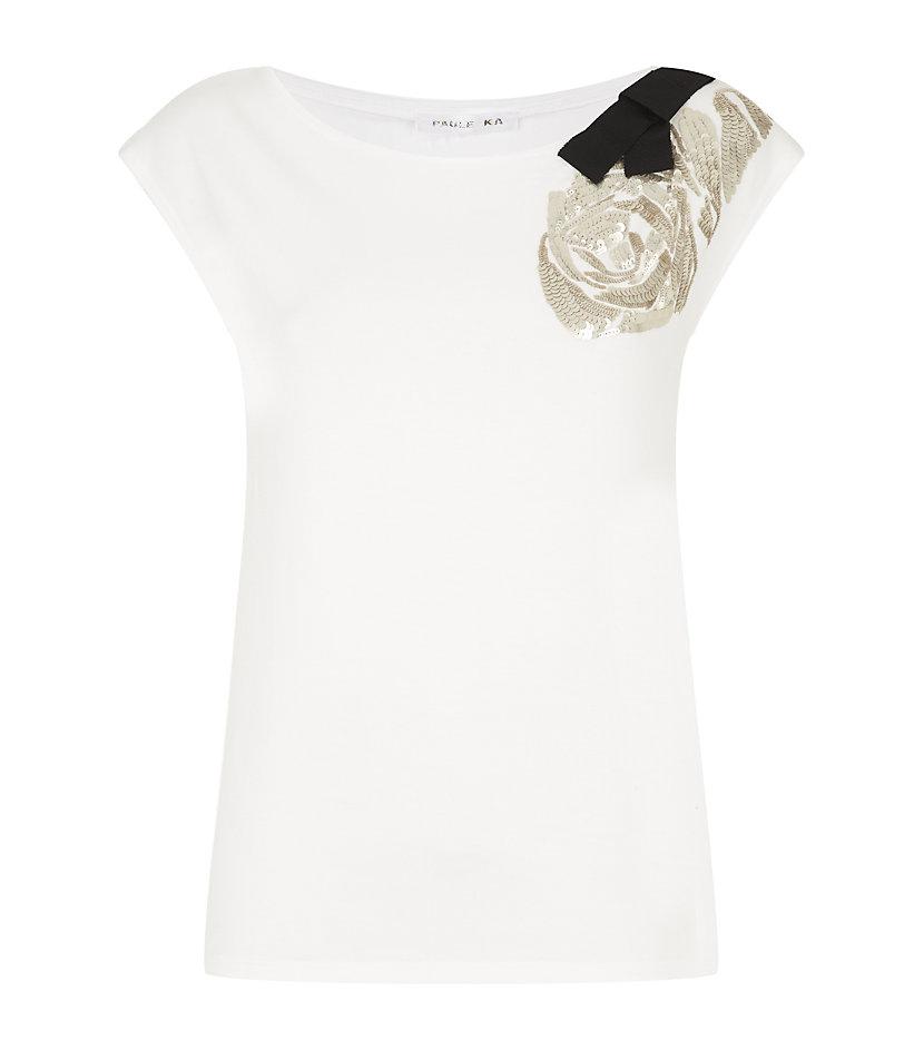 Paule Ka Sequin Embellished Tshirt In White Lyst