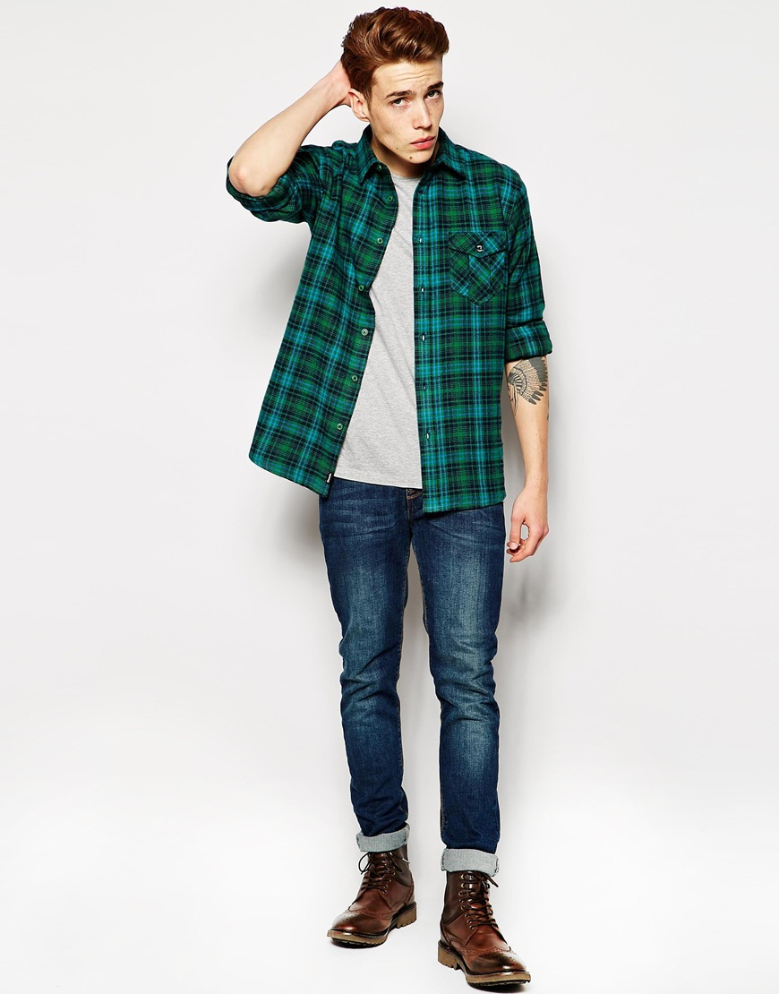 Bench Flannel Shirt In Green For Men Lyst