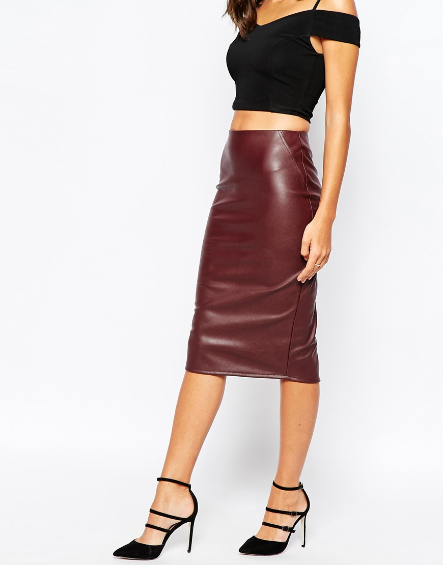 Warehouse Faux Leather Pencil Skirt in Purple | Lyst