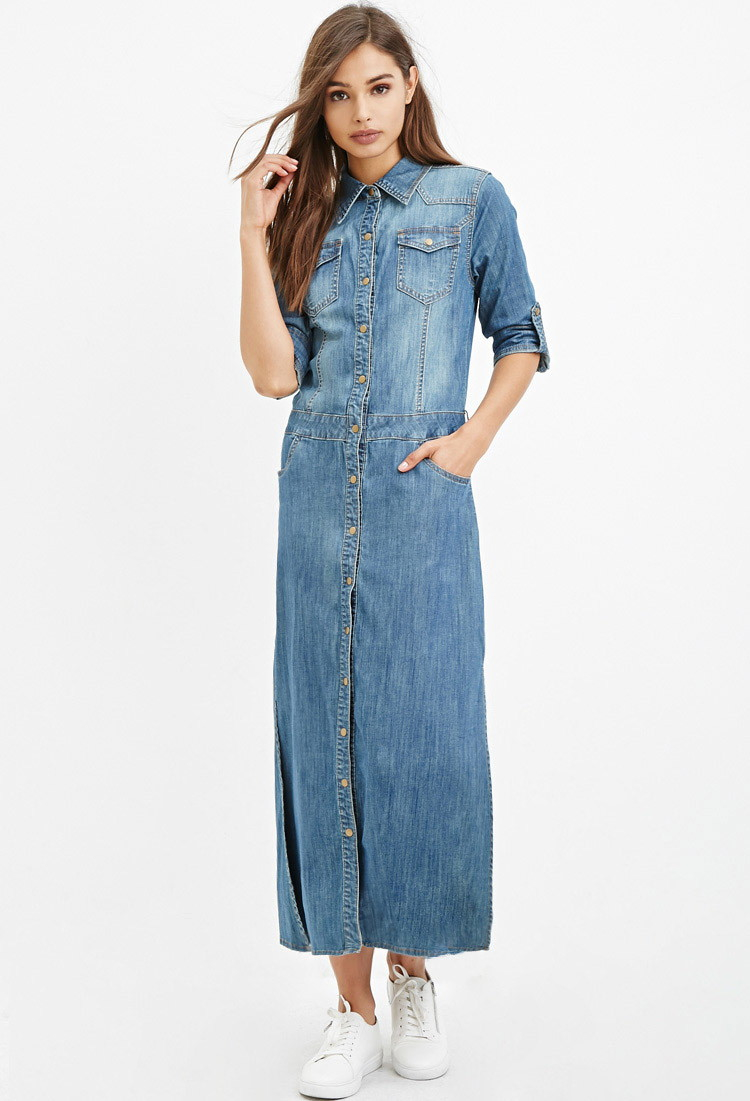 Wear this denim maxi dress as is now, or with a shrug later in the season. princess seams create a tailored, hourglass silhouette 57