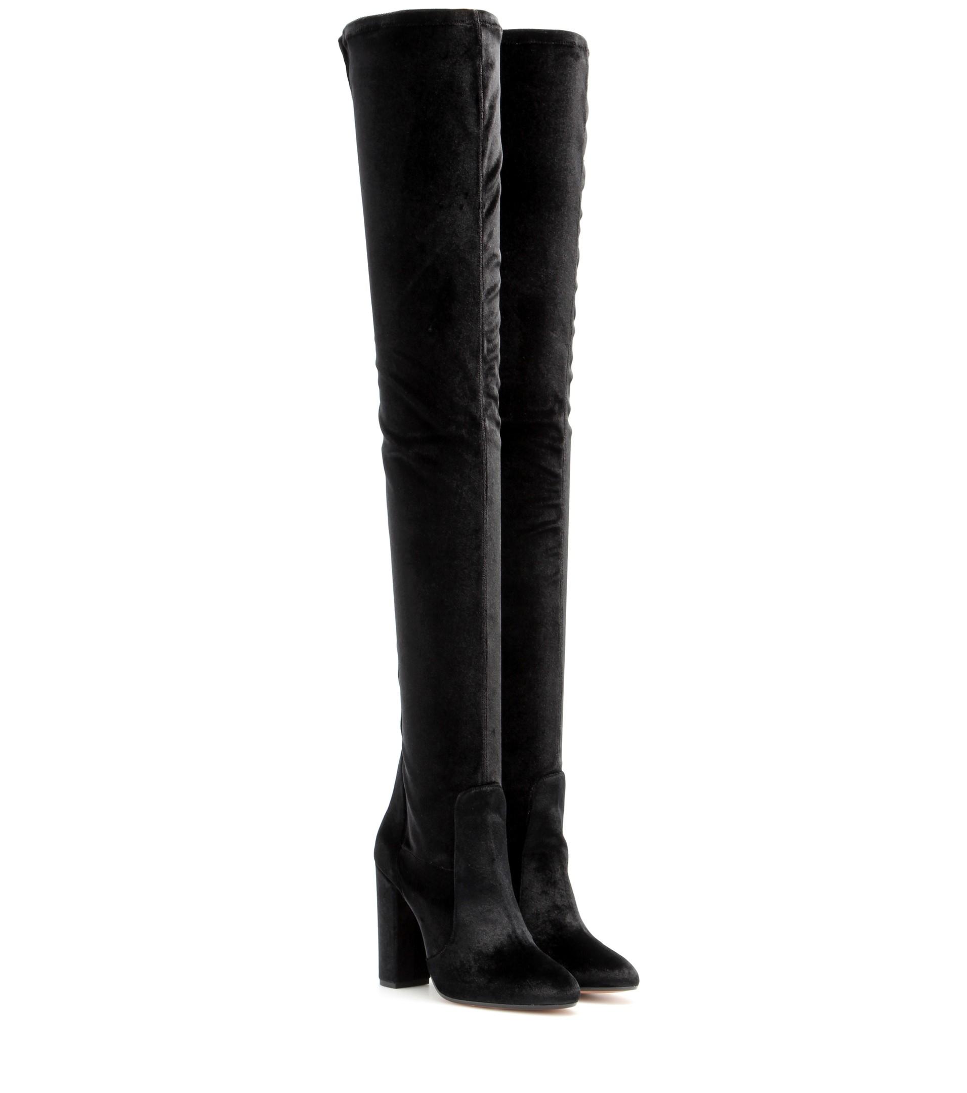 109d32f734c Lyst - Aquazzura Velvet Over-The-Knee Boots in Black