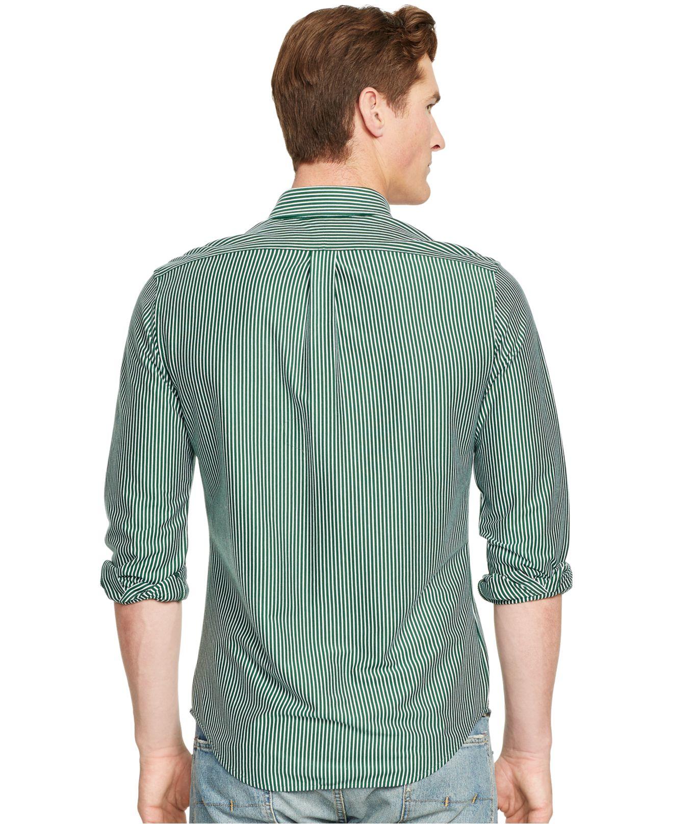 Lyst Polo Ralph Lauren Striped Knit Dress Shirt In Green