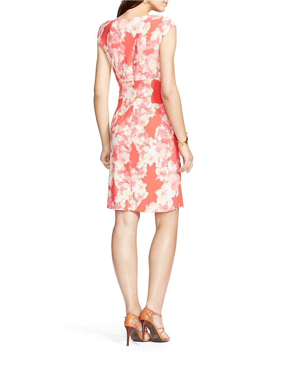 Lauren By Ralph Lauren Floral Sheath Dress In Pink Lyst
