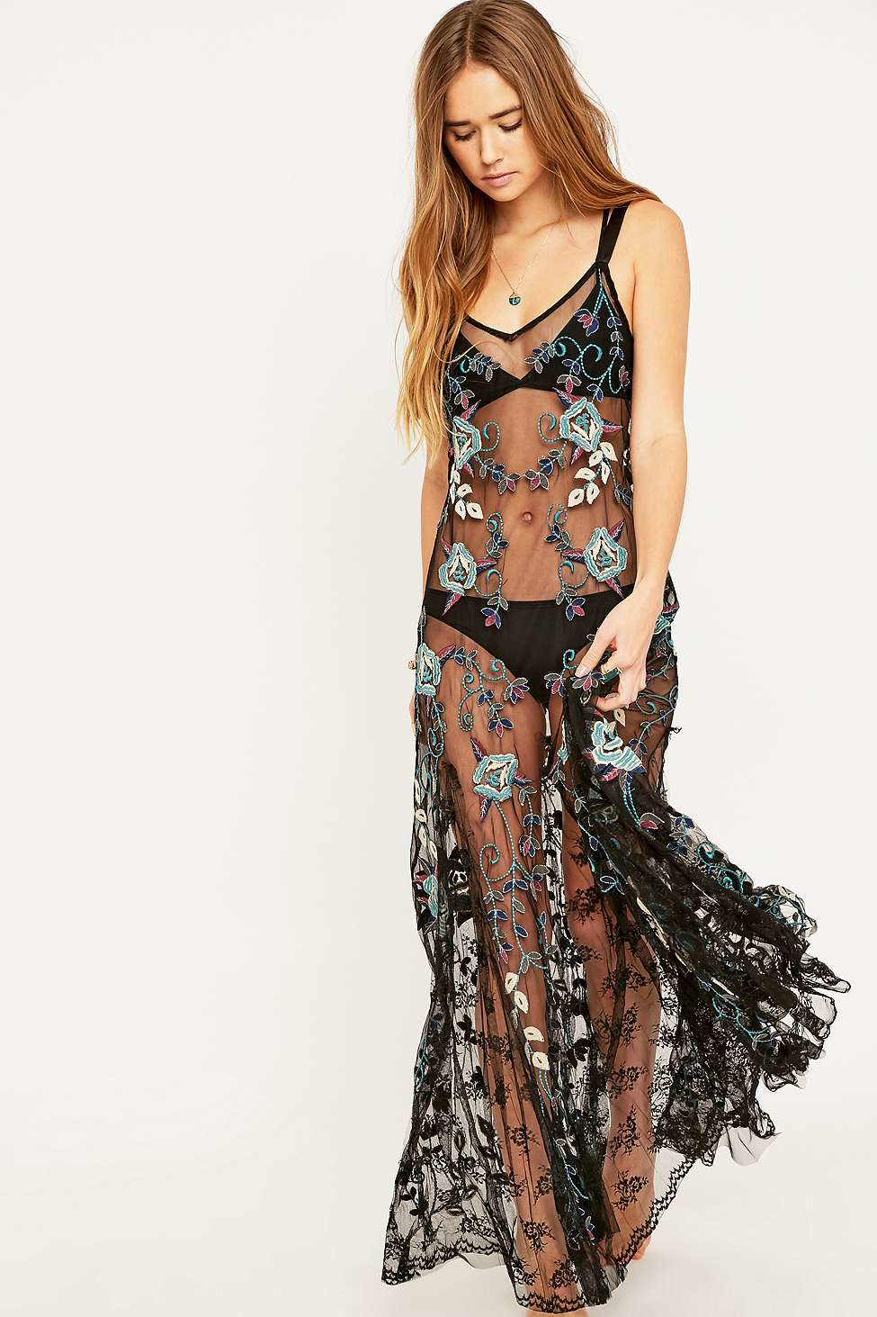 Lyst Free People Embroidered Bouquet Maxi Dress In Black