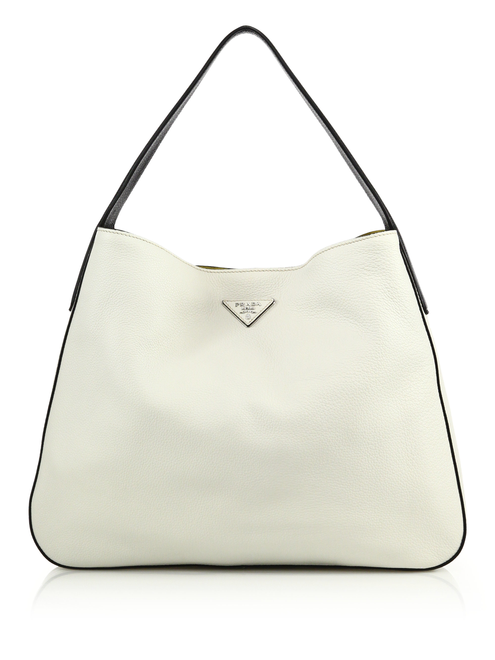 prada daino bicolor hobo bag in white lyst. Black Bedroom Furniture Sets. Home Design Ideas