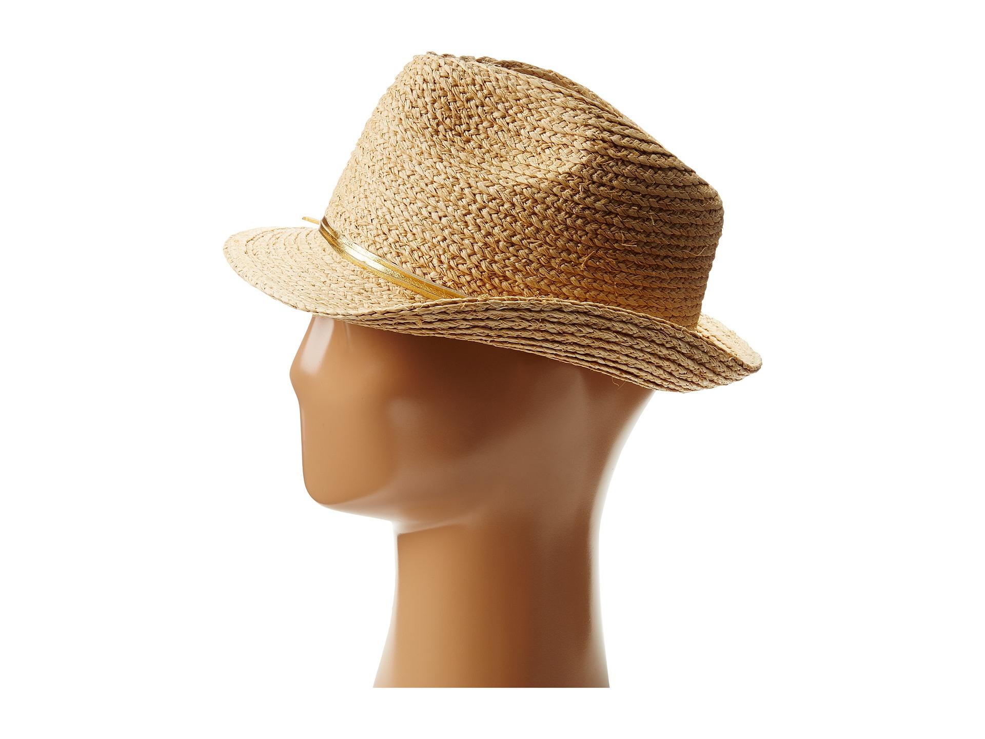 48c5914f255 Lyst - Hat Attack Metallic Raffia Braid Fedora W Skinny Leather Trim ...