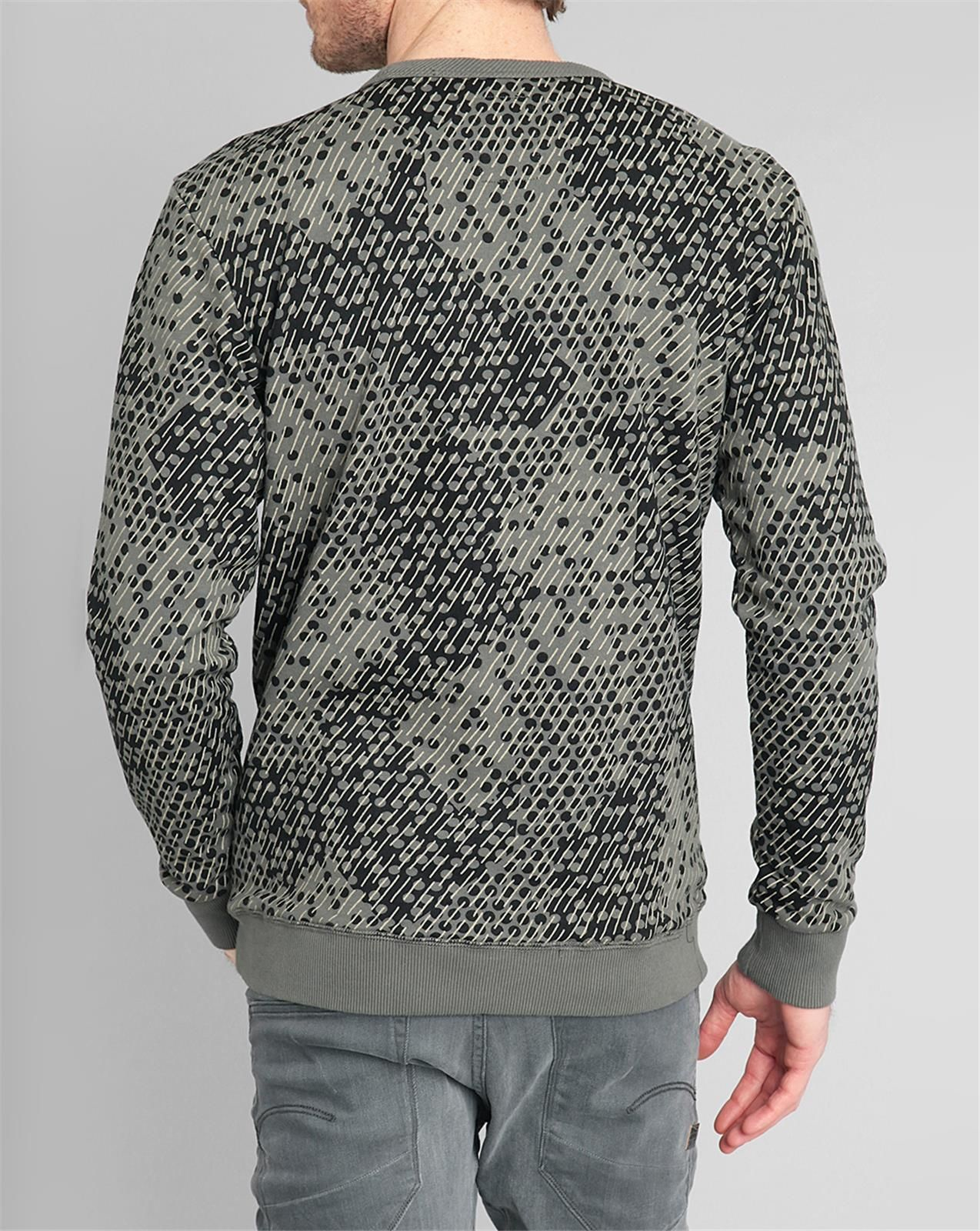 g star raw round neck khaki sweater with camouflage motif and g star logo in natural for men lyst. Black Bedroom Furniture Sets. Home Design Ideas