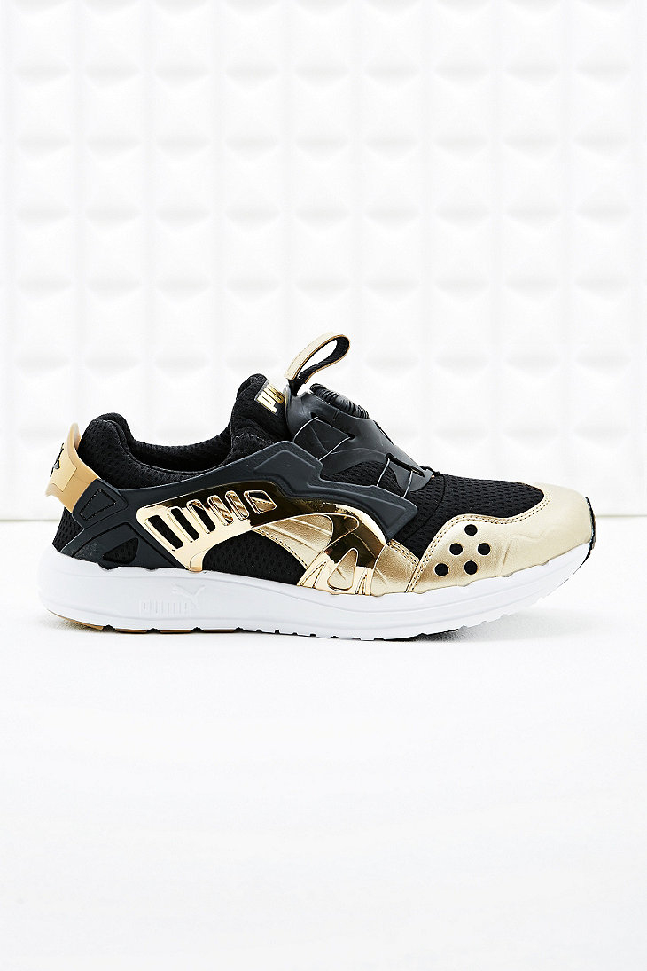 Puma Disc Blaze Trainers In Black And Gold In Gold For Men