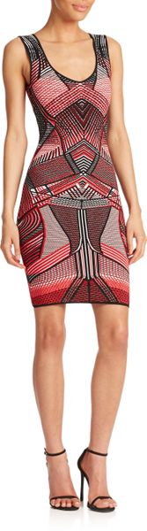 Rvn Curved Line 3d Printed Dress In Multicolor Black Red