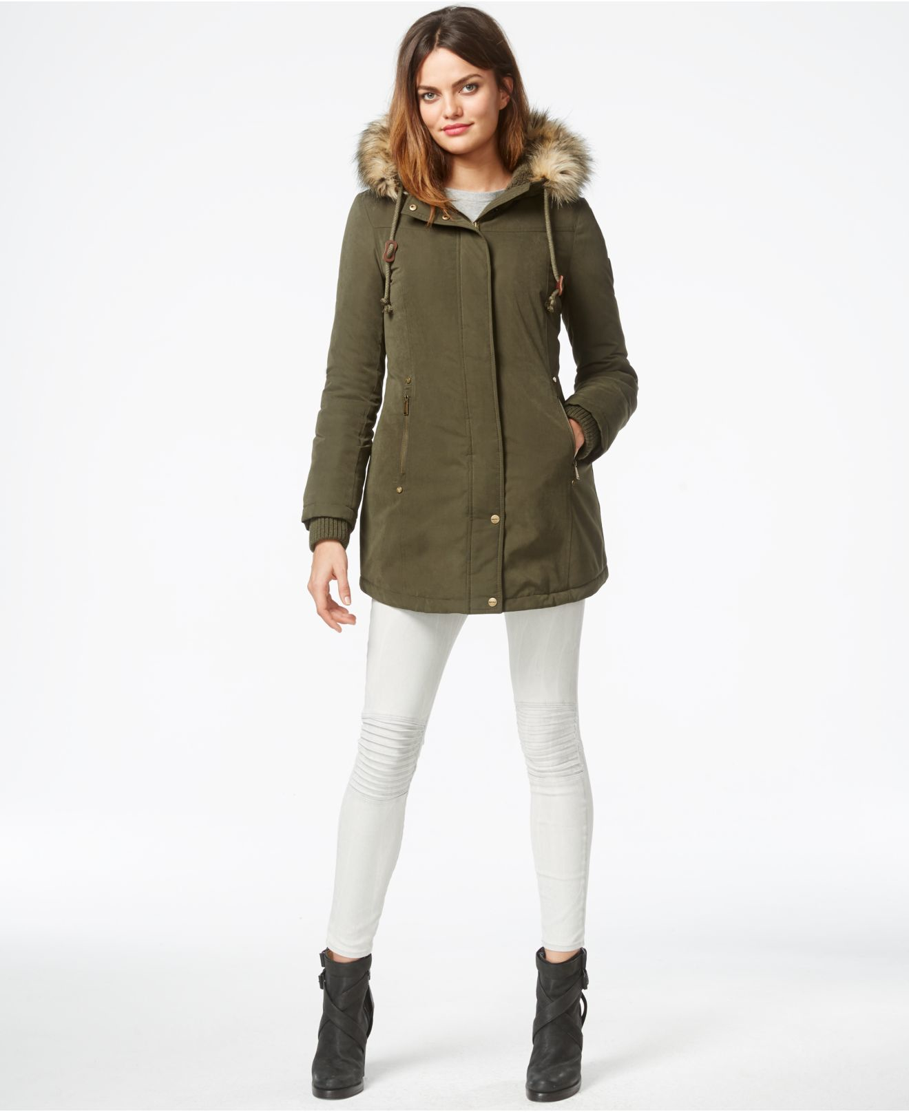 Dkny Faux-fur-trim Parka Jacket in Green | Lyst