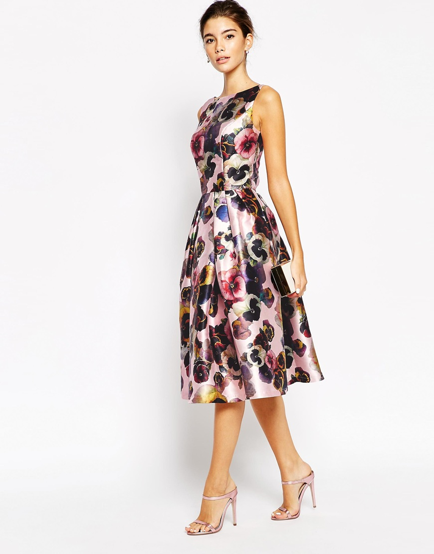 Chi Chi London Allover Floral Full Prom Skater Dress Lyst