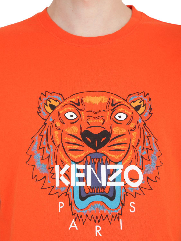 063bda961 KENZO Tiger Printed Cotton Jersey T-shirt in Orange - Lyst