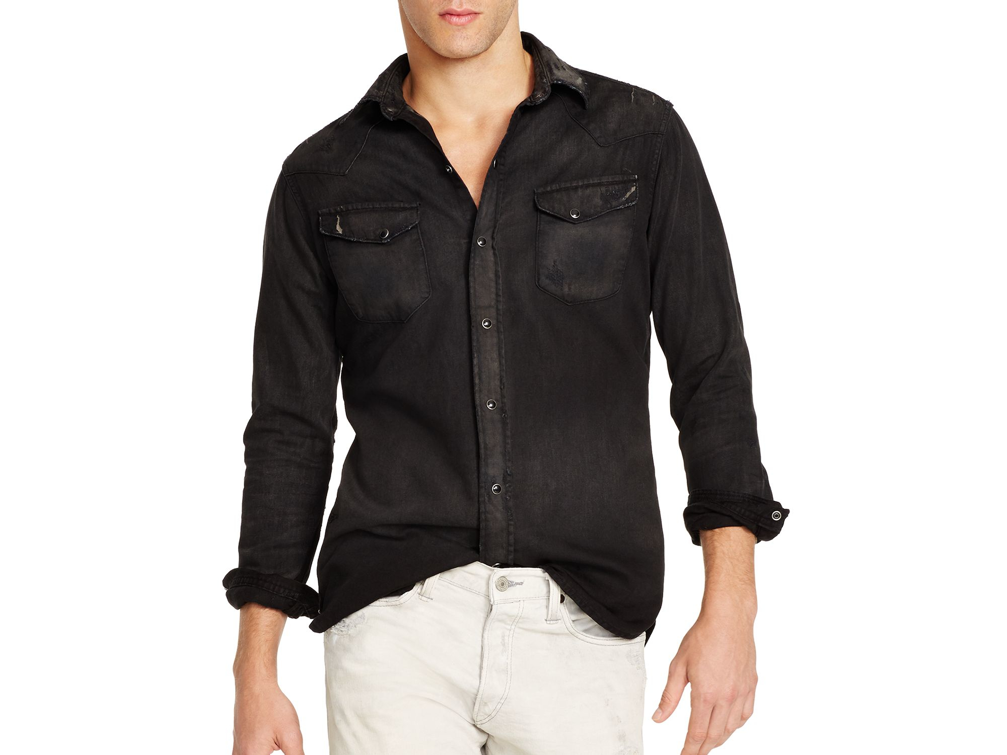 Lyst - Polo ralph lauren Slim Fit Denim Button Down Shirt in Black ...