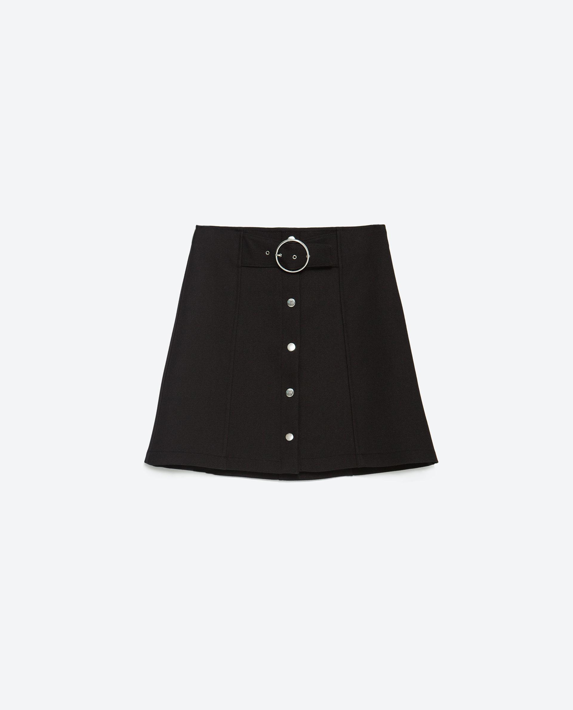 Zara A-line Mini Skirt in Black | Lyst