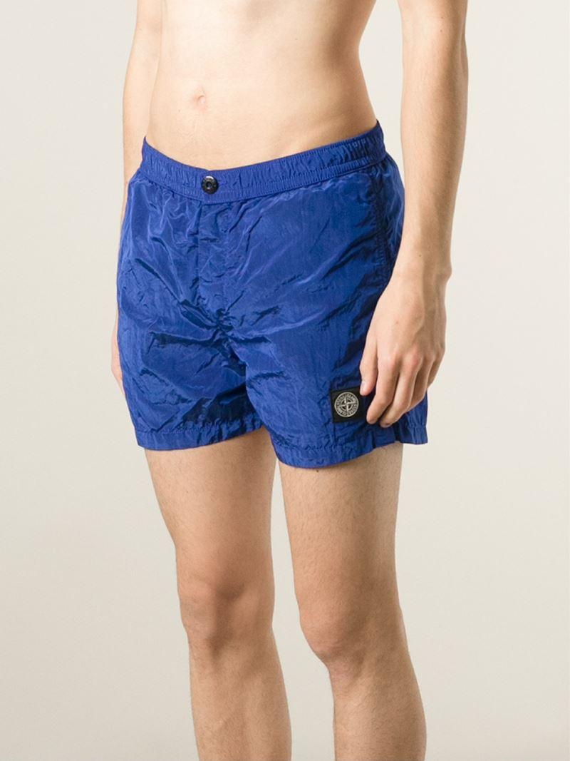 a9de90901b Stone Island Logo Patch Swim Shorts in Blue for Men - Lyst