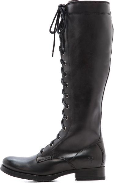 Frye Melissa Tall Lace Up Boots Black In Black Lyst