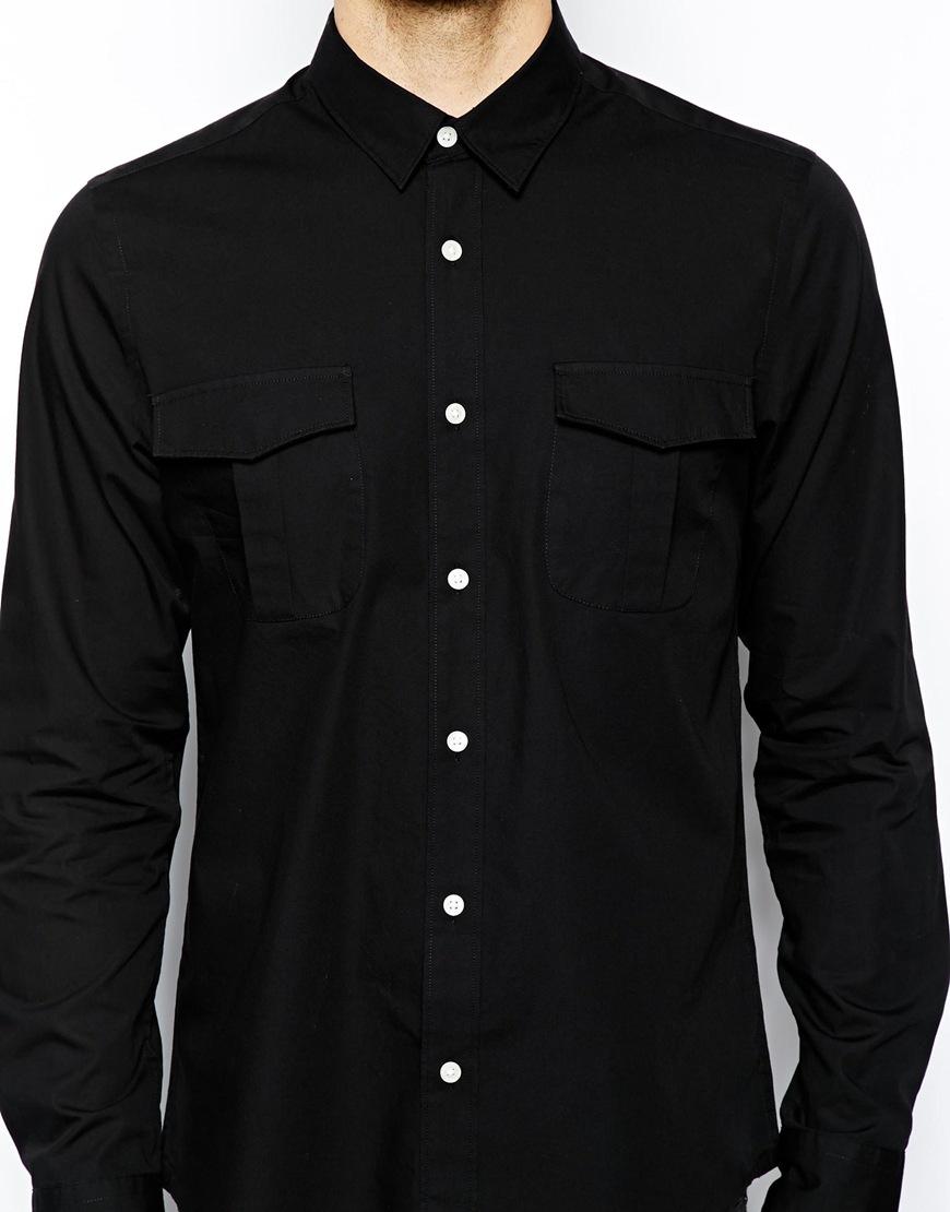 Asos Military Shirt in Long Sleeve in Black for Men | Lyst