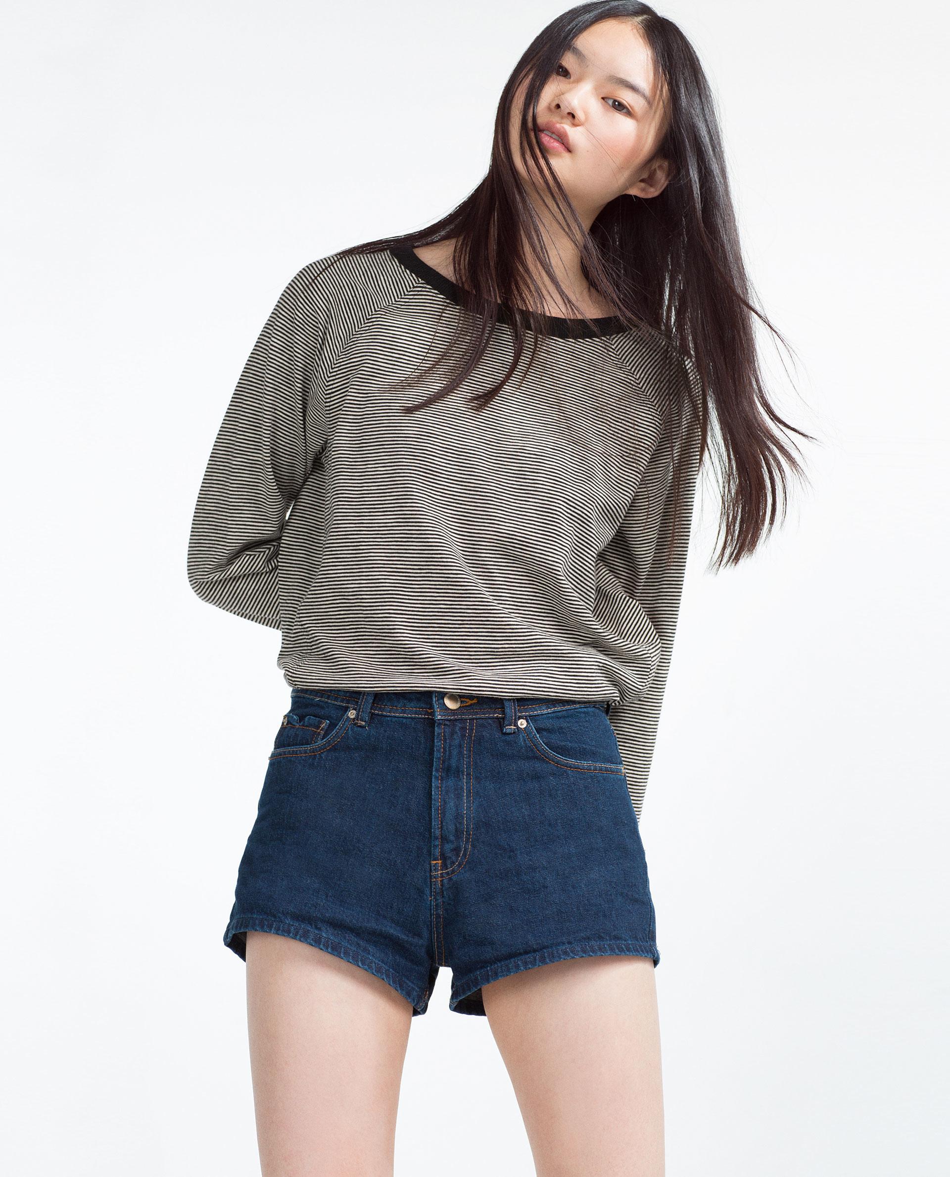 zara high waist denim shorts in blue lyst. Black Bedroom Furniture Sets. Home Design Ideas