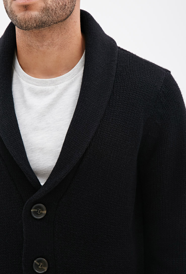 Forever 21 Shawl Collar Cardigan in Black for Men | Lyst