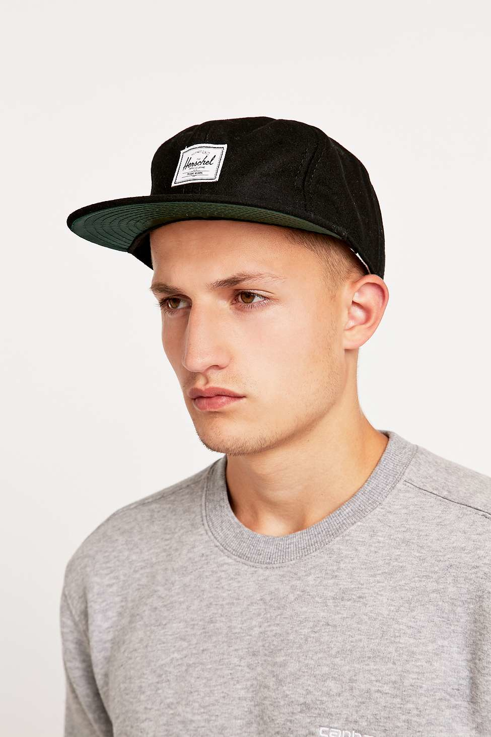 ccd2c515cb6 ... promo code herschel supply co. ebbets 5 panel cap in black wool in black  for