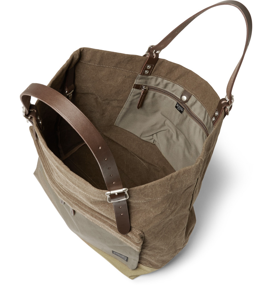 Lyst - Porter Leather-Trimmed Canvas Tote Bag in Brown for Men 120c8e07db7b0