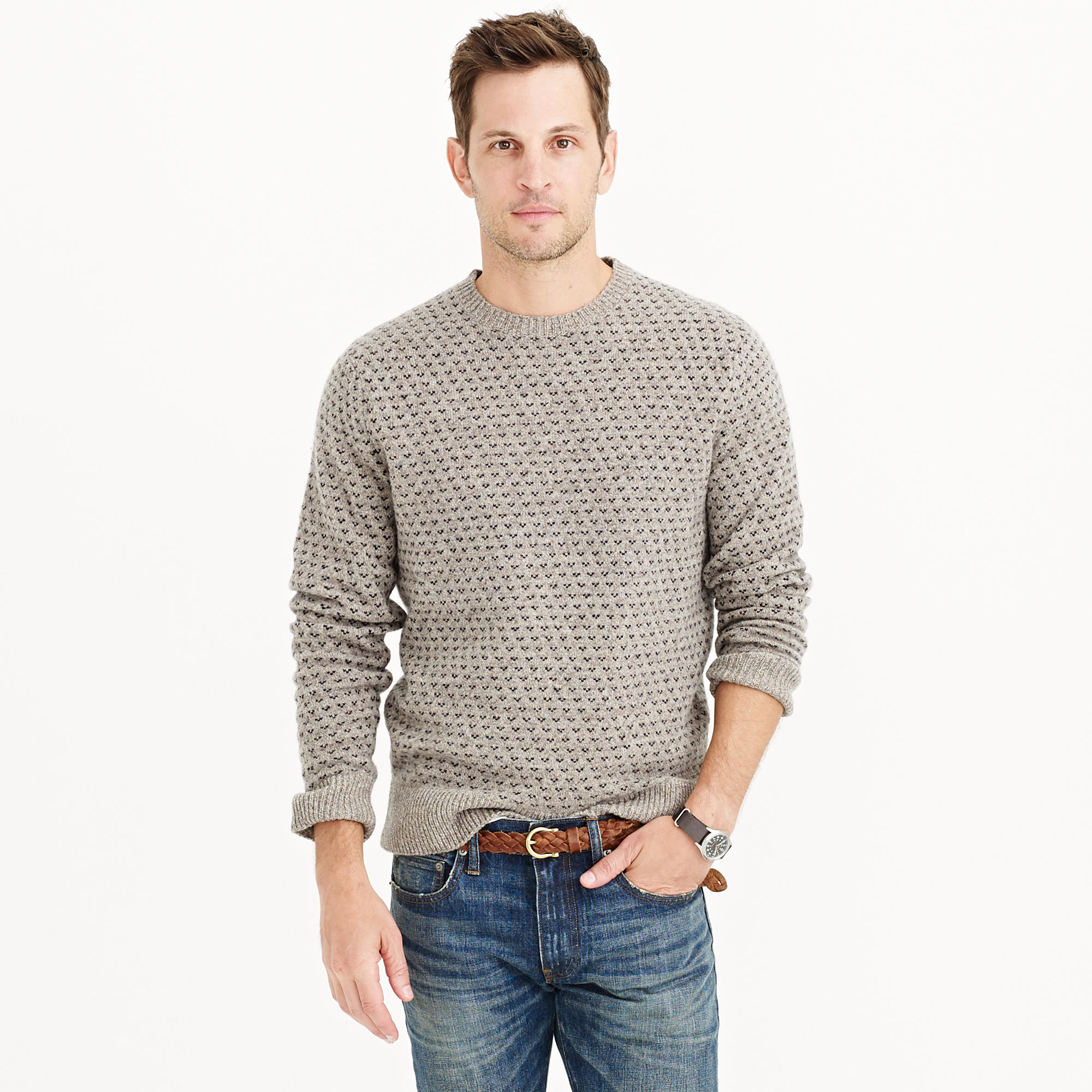 bfcb3e600b1 Lyst - J.Crew Lambswool Jacquard Sweater in Gray for Men