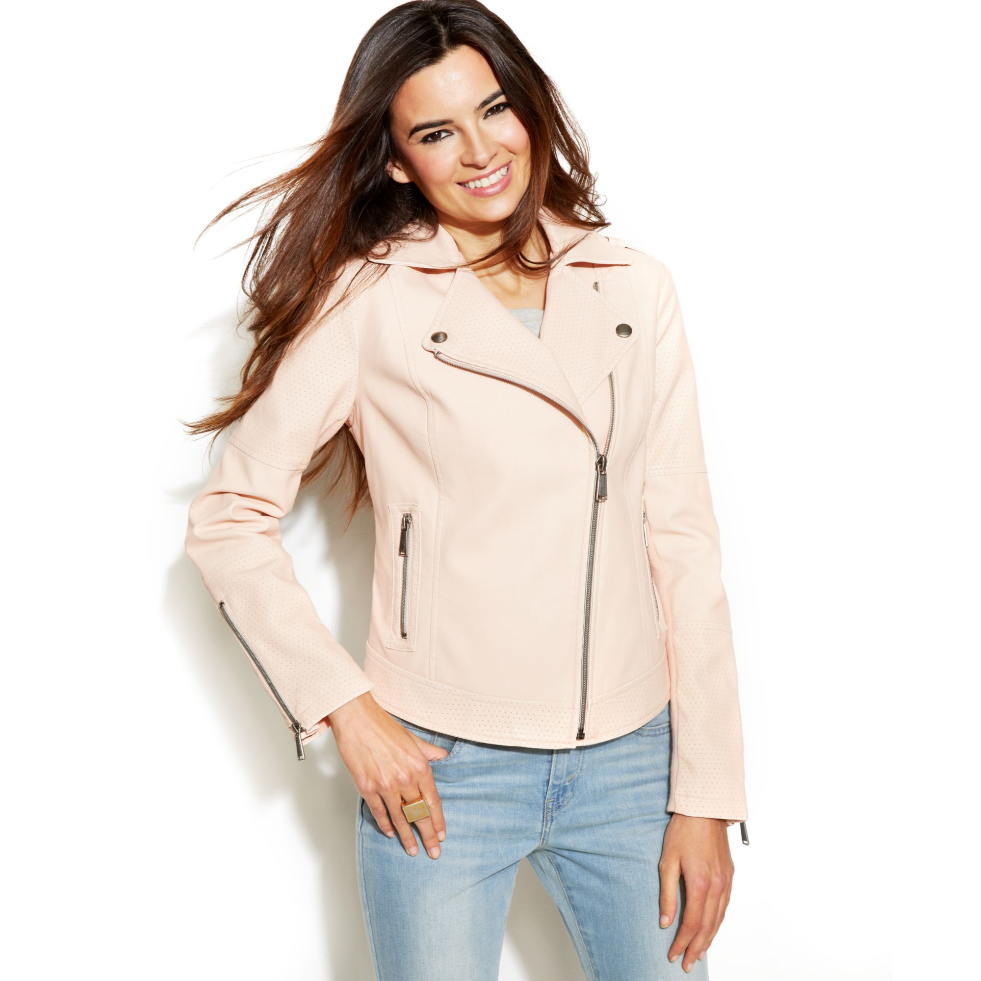 Bcbgeneration Perforated Fauxleather Moto Jacket in Pink   Lyst