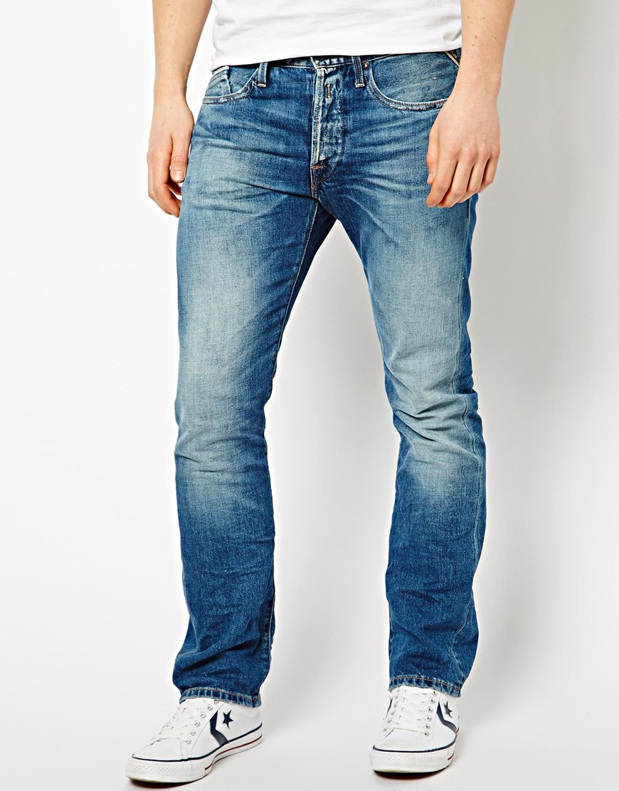 Lyst - Replay Jeans Waitom Straight Fit Laserblast Mid ...
