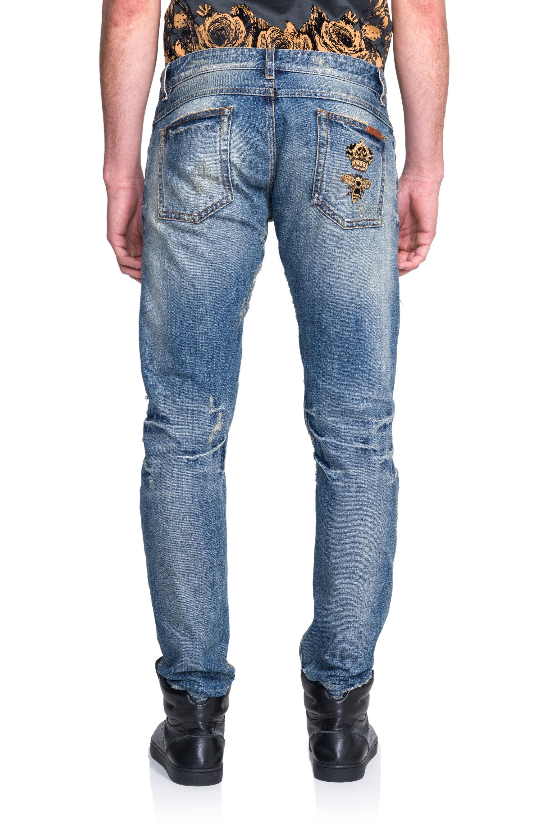 dolce gabbana distressed crown patch denim jeans in blue. Black Bedroom Furniture Sets. Home Design Ideas