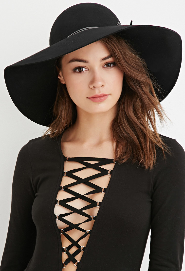 ed50468a058 Lyst - Forever 21 Faux Leather Ribbon Floppy Hat in Black
