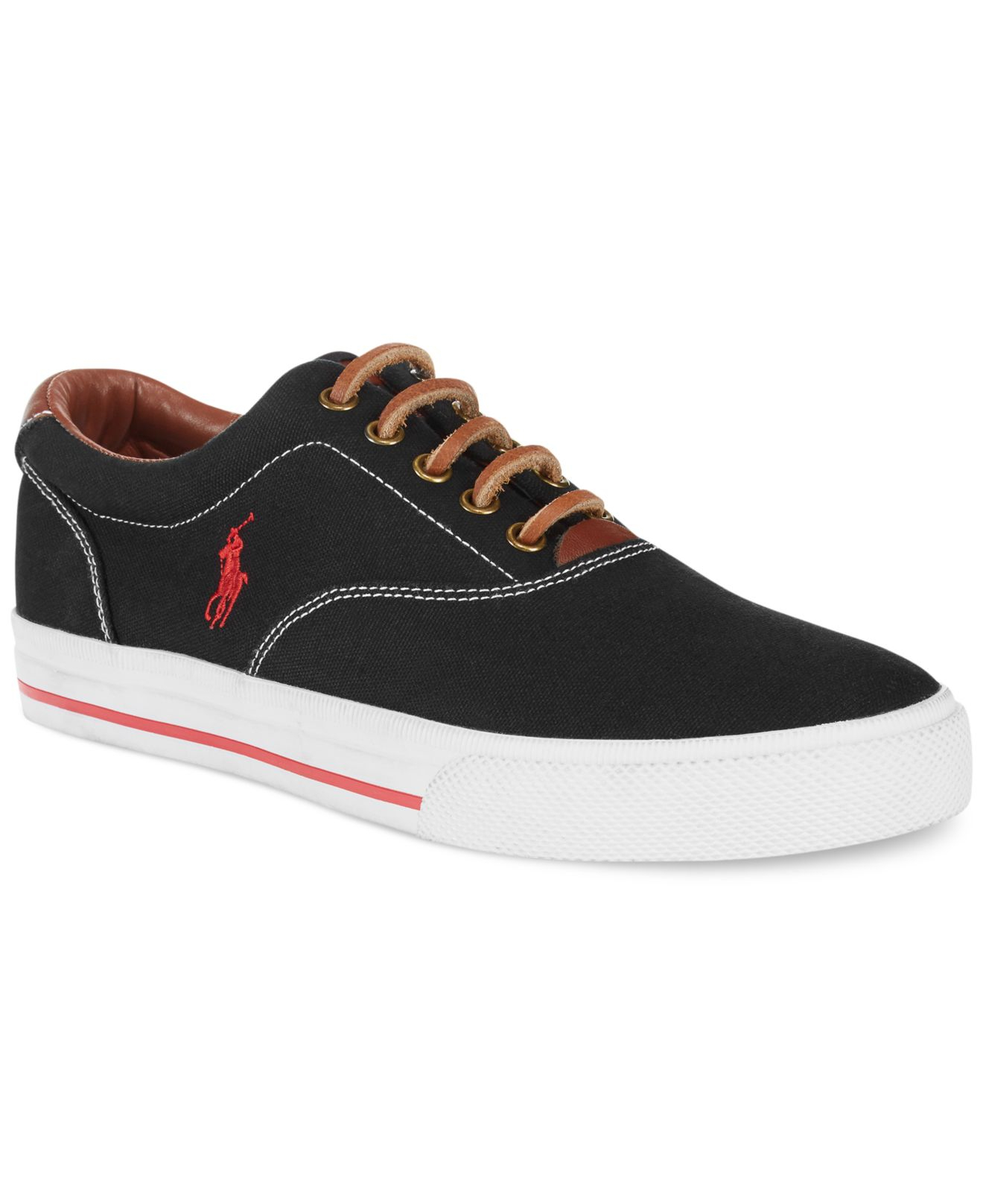 polo ralph lauren vaughn canvas sneakers in black for men lyst. Black Bedroom Furniture Sets. Home Design Ideas