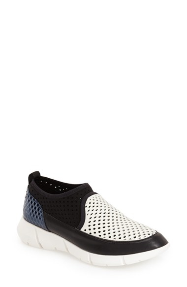 calvin klein winona perforated neoprene sneakers in black. Black Bedroom Furniture Sets. Home Design Ideas