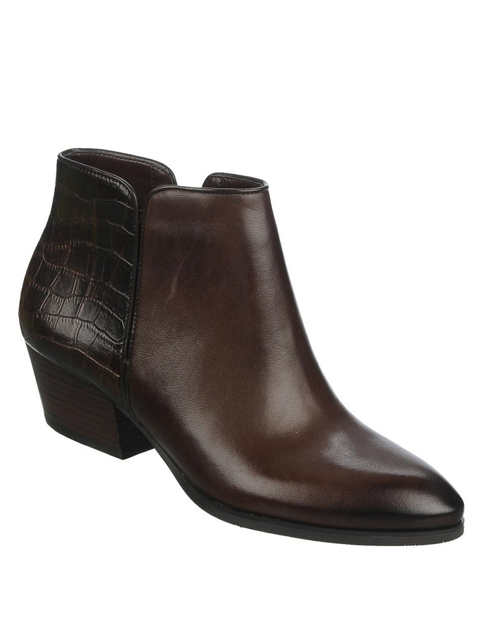 franco sarto quasar leather boots in brown lyst
