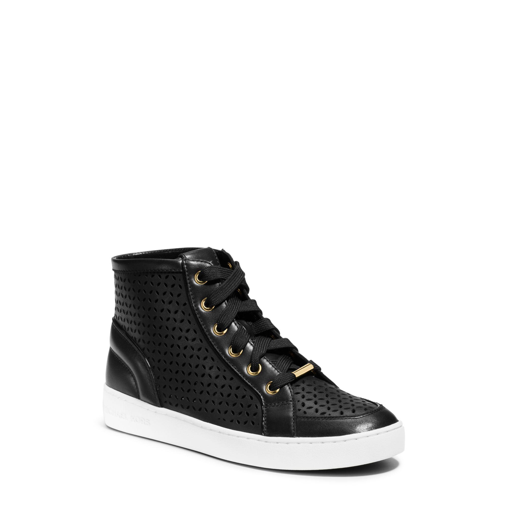 michael kors olivia high top leather sneaker in black lyst. Black Bedroom Furniture Sets. Home Design Ideas