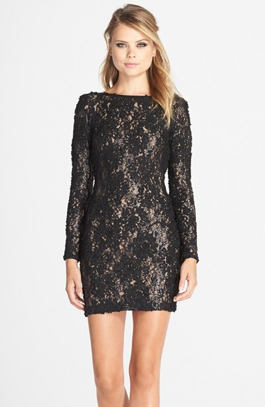 Dress the population 'lola' Lace Sheath Dress in Black | Lyst