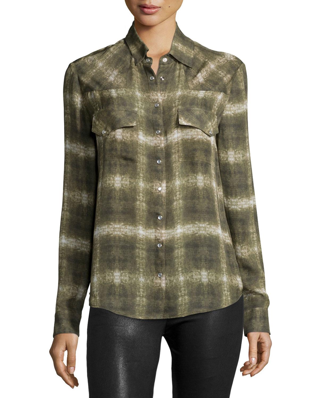 Lyst Haute Hippie Basic Western Long Sleeve Shirt In Green