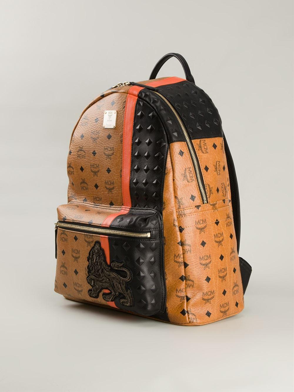 lyst mcm 39 munich lion 39 backpack in brown for men. Black Bedroom Furniture Sets. Home Design Ideas