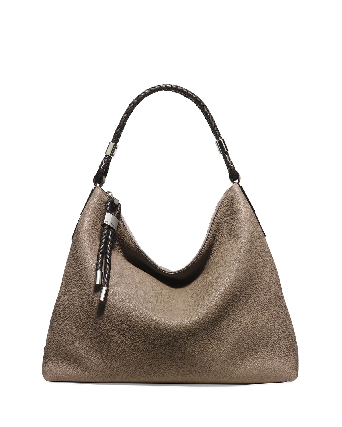 michael kors skorpios woven trim hobo bag in brown lyst. Black Bedroom Furniture Sets. Home Design Ideas