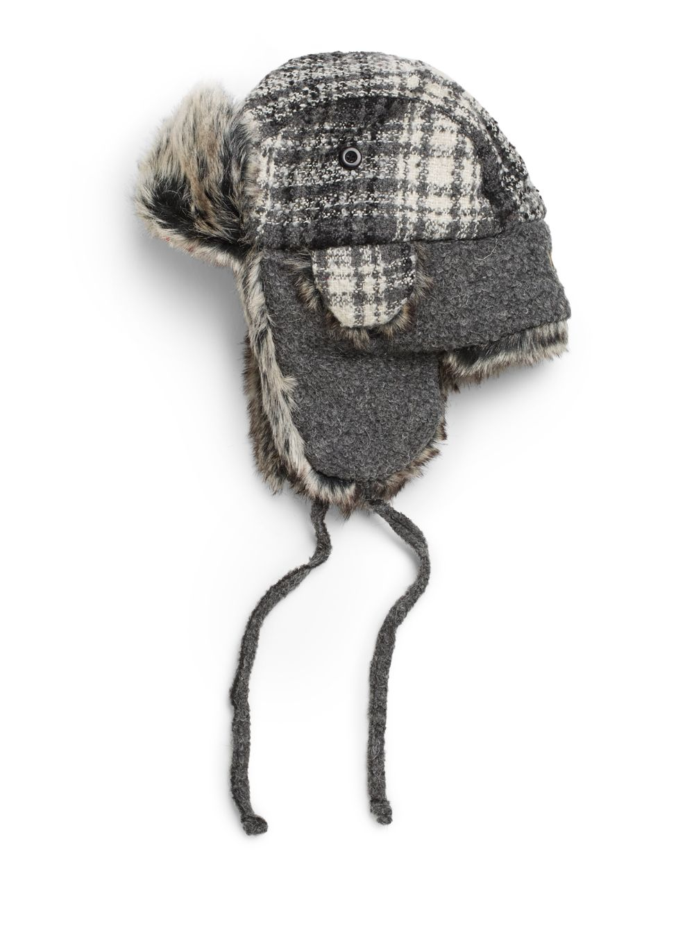 23ff9f2ac29 Lyst - Woolrich Boucle Plaid Faux Fur Trapper Hat in Gray for Men