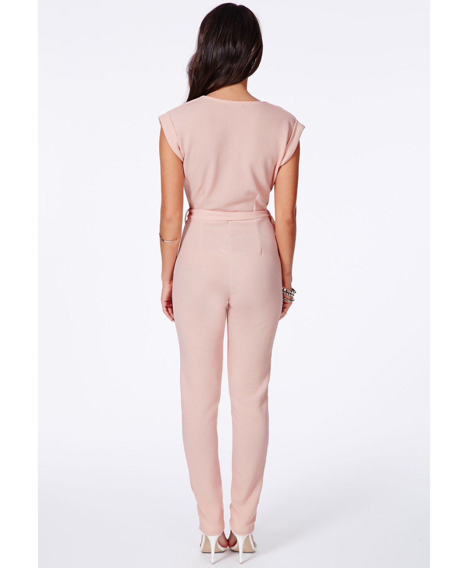 Missguided Makaila Tie Waist Wrapover Jumpsuit In Blush in Pink | Lyst