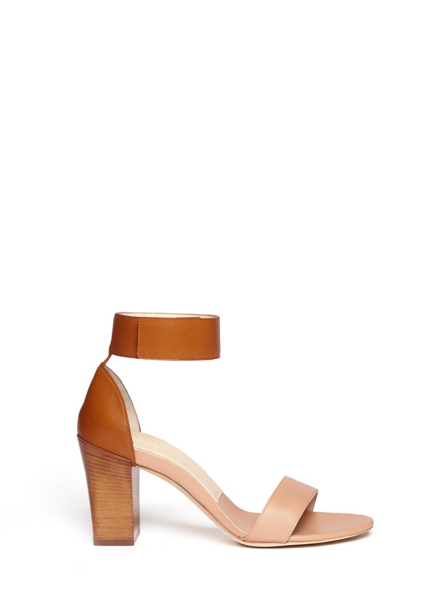 Chloé Ankle Strap Chunky-heel Sandals in Brown | Lyst