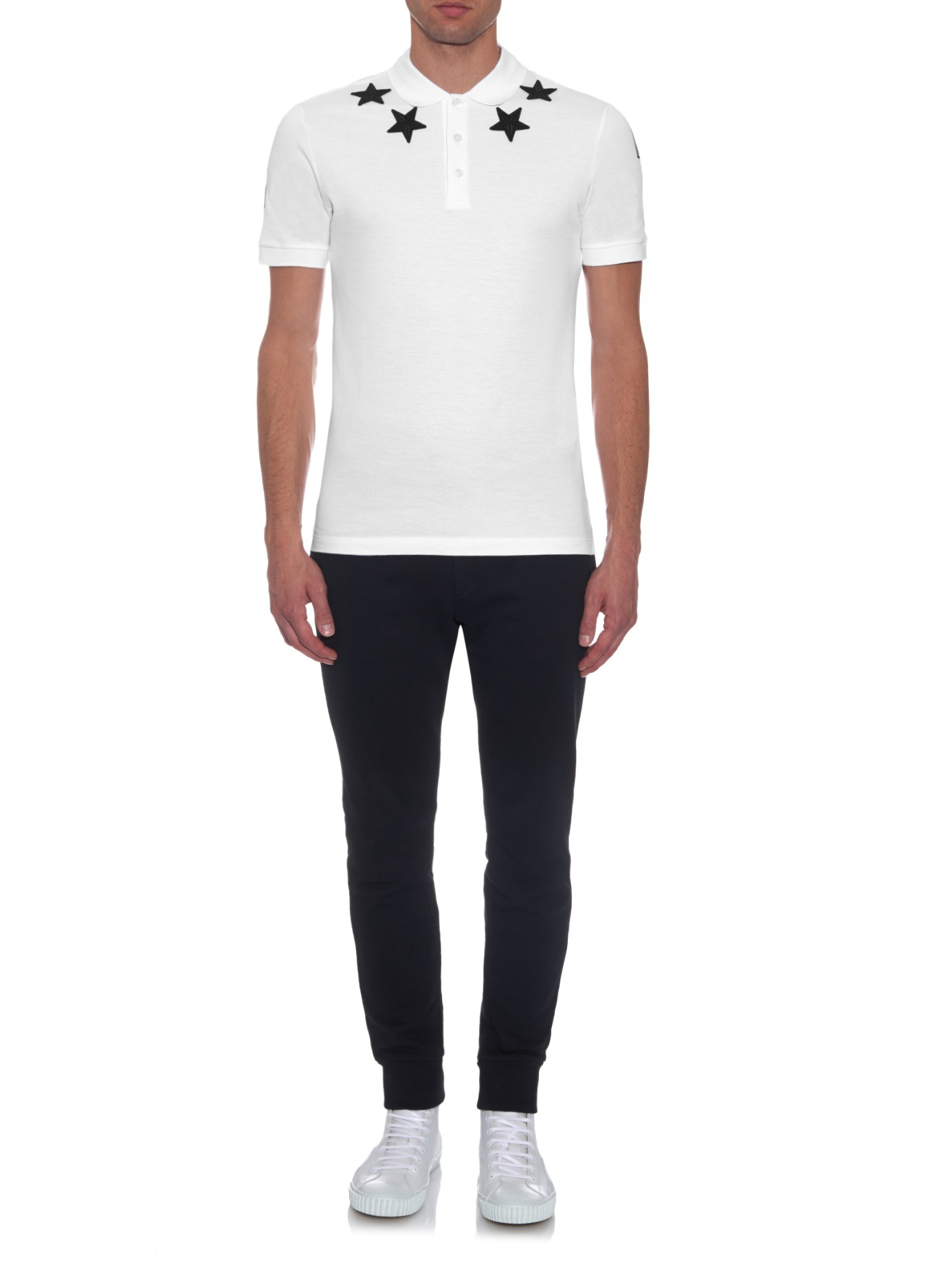Givenchy Cuban Fit Star Patch Polo Shirt In White For Men
