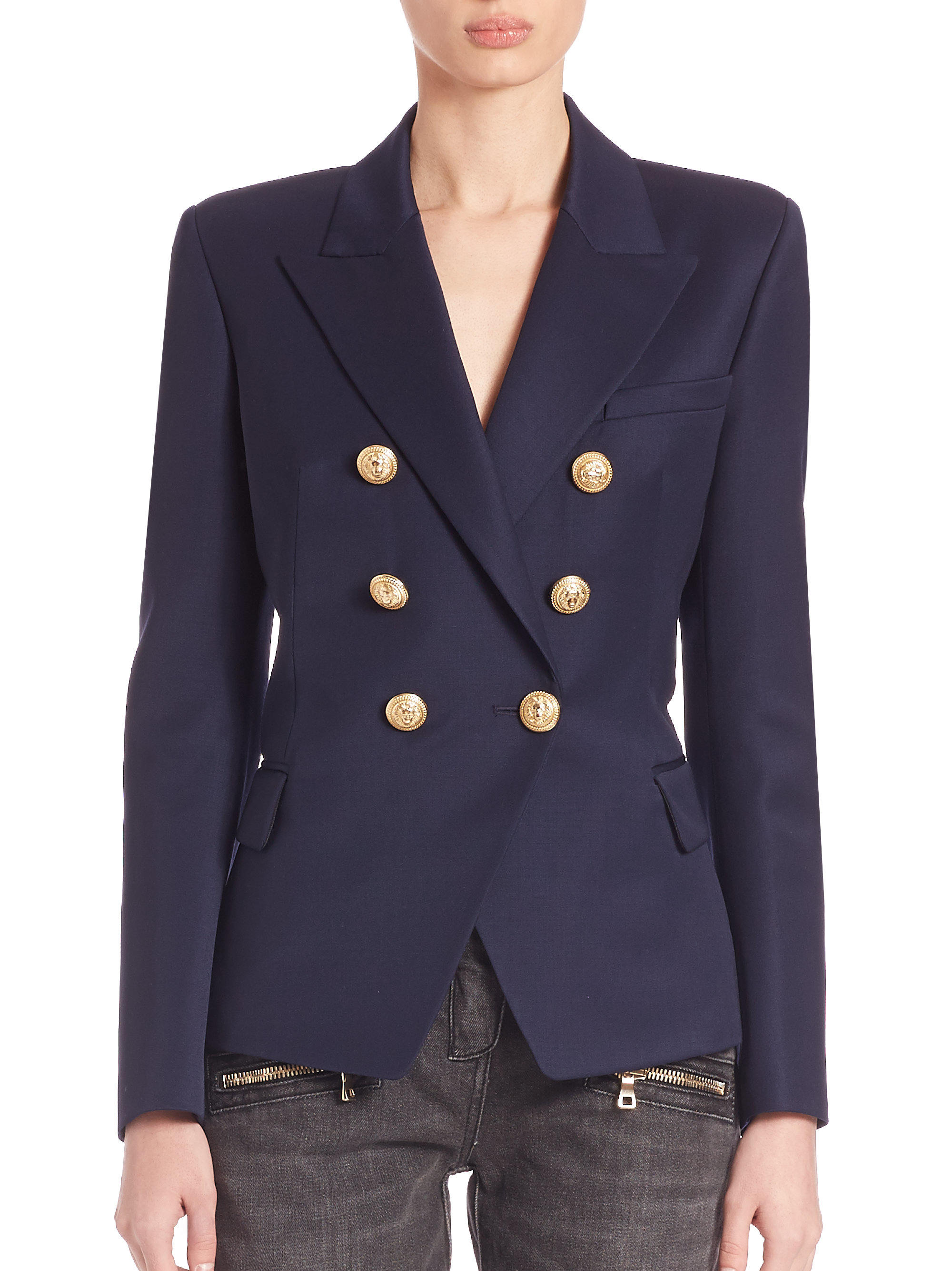 Womens Navy Blue Wool Blazer Hardon Clothes