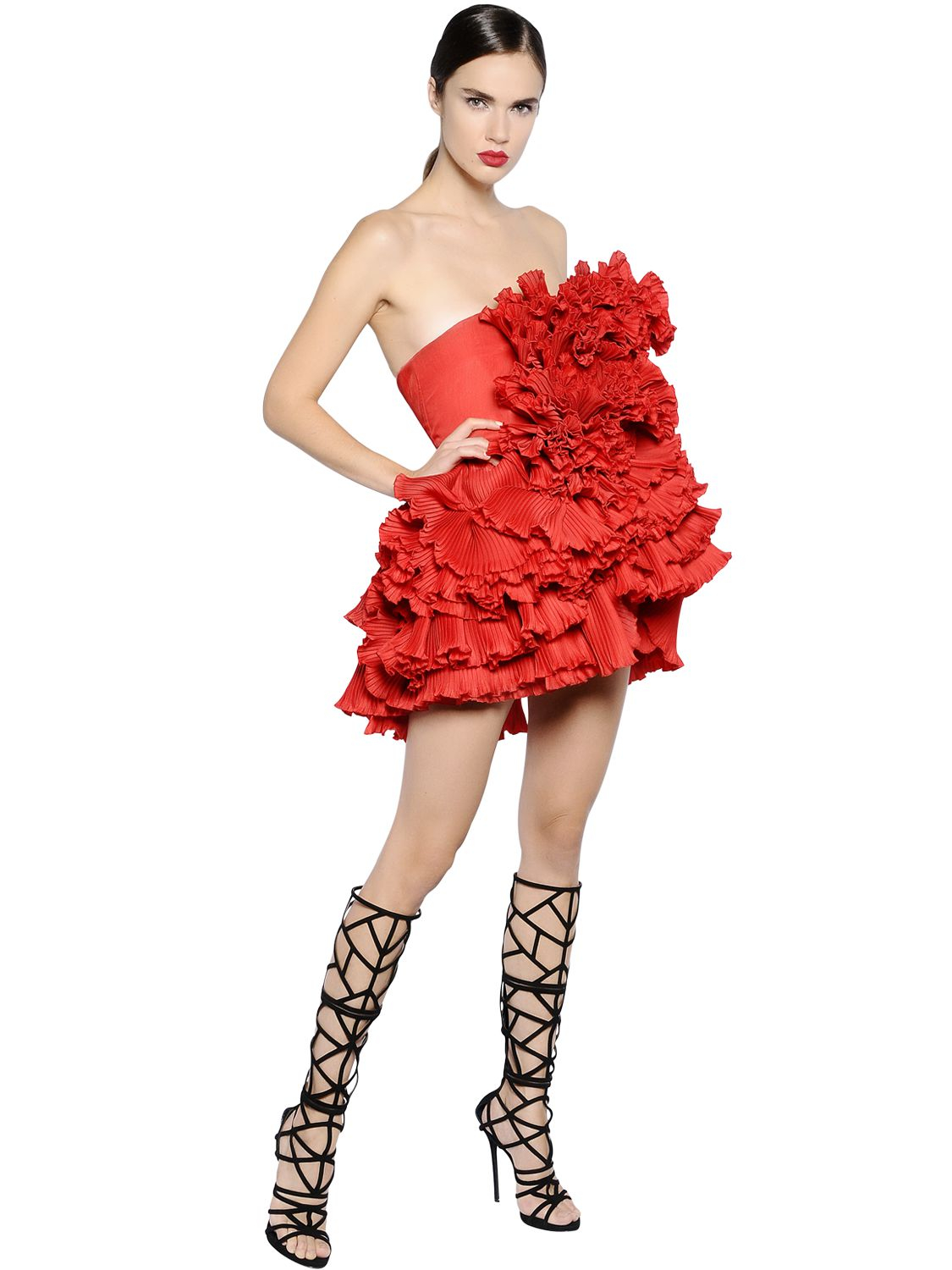Ruffled Organza Skirt With Embroidered And Beaded Bodice: Dsquared² Ruffled Silk Organza Dress In Red