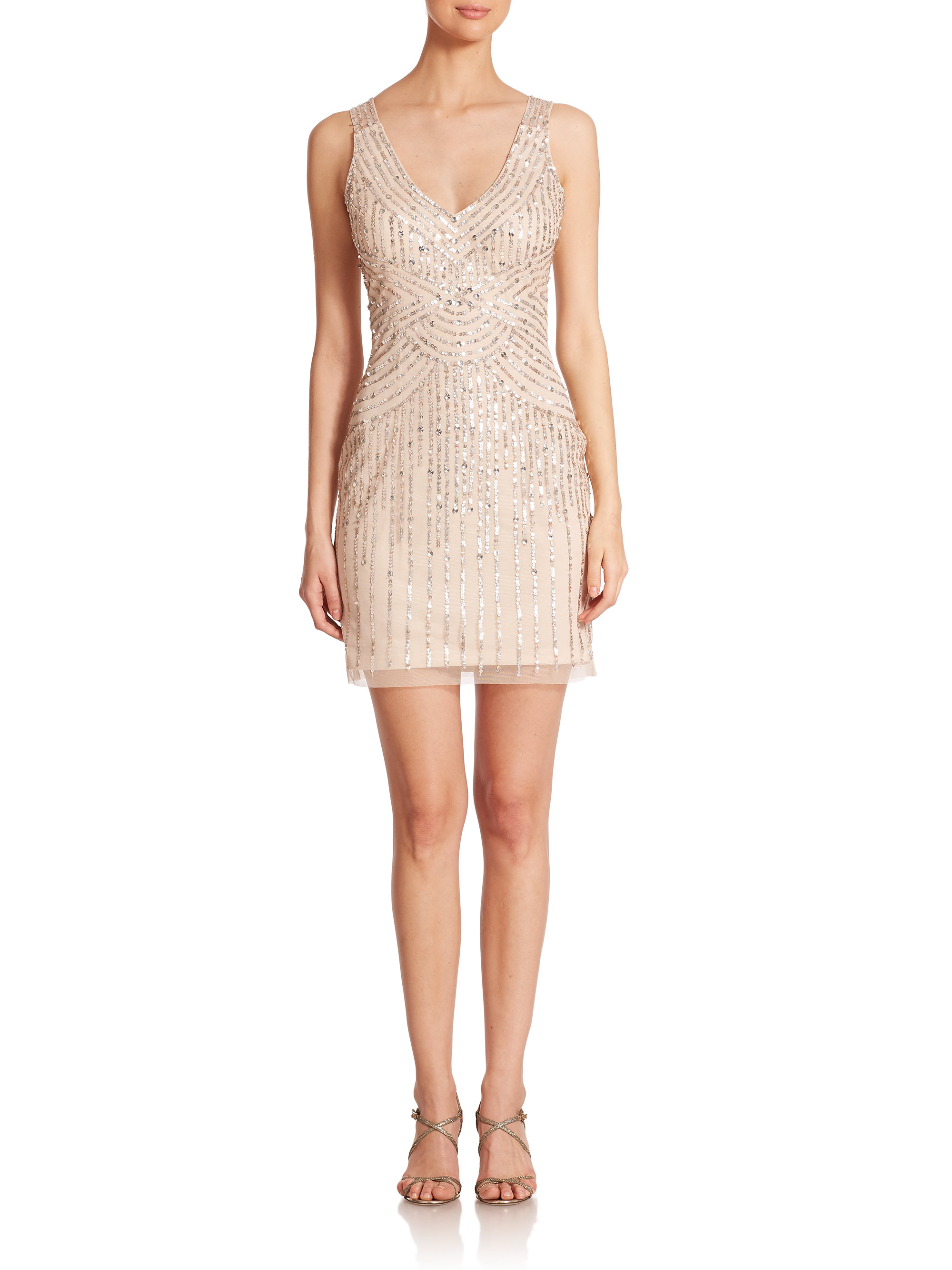 Aidan mattox illusion back sequin bridesmaid dress in for Metallic bridesmaid dresses wedding