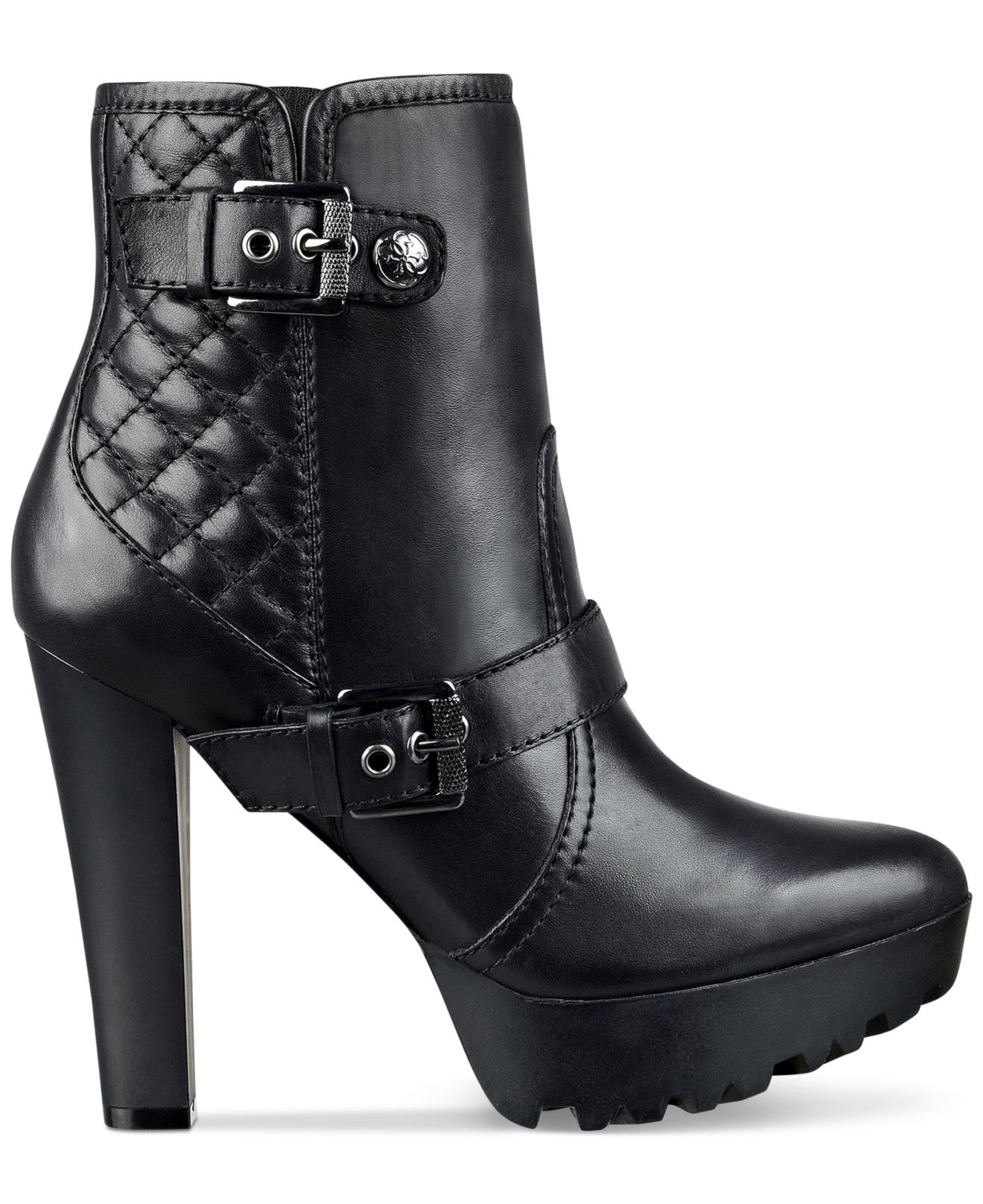 Guess Clary Quilted Platform Lug Booties In Black Lyst